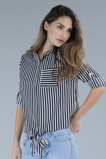 Striped Shirt with Roll Up Sleeves and Complete Placket