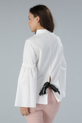 Shirt with Bell Sleeves and Complete Placket