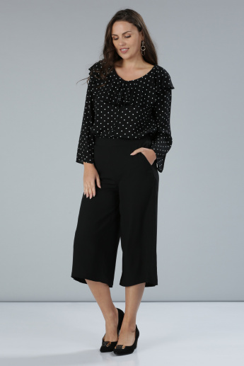 Polka-Dot Printed Top with Long Sleeves and Ruffle Detail