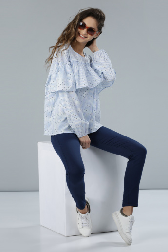 Printed Long Sleeves Top with Frill Detail