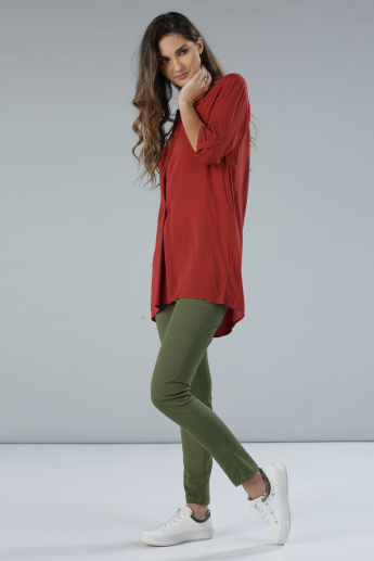 Long Sleeves Longline Top with Tabs