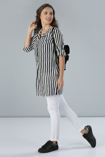 Striped Top with Roll Up Sleeves and Complete Placket
