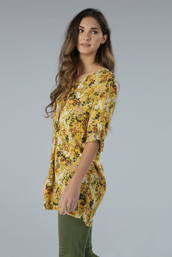 Floral Print Long Sleeves Longline Top with Tabs