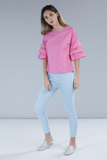 Round Neck Chequered Top with Short Sleeves