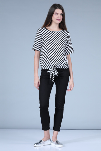 Striped Top with Round Neck and Short Sleeves