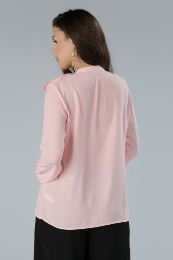 Ruffle Detail Top with Long Sleeves and Complete Placket