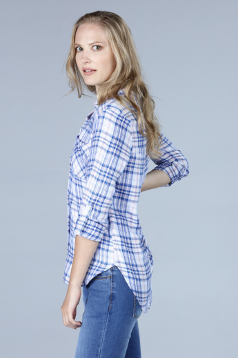 Chequered Shirt with Roll-Up Sleeves