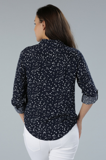Printed Shirt with Roll Up Sleeves and Complete Placket