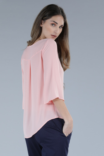 Round Neck Top with 3/4th Sleeves