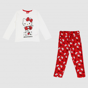 1d783902a Hello Kitty Printed T-Shirt and Pyjama Set | Multicolour | Cotton