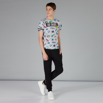 Printed Short Sleeve T-Shirt with Round Neck