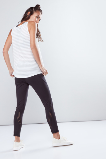 Ankle Length Mid-Waist Leggings with Elasticised Inserts
