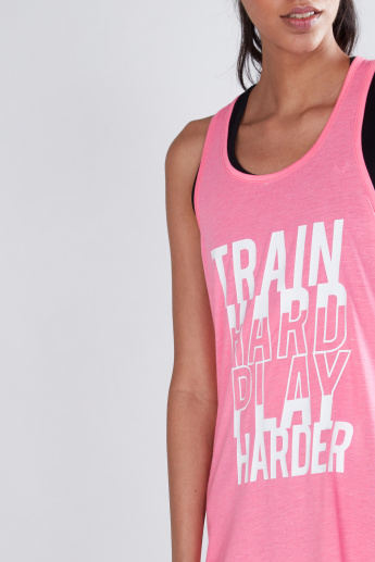 Slogan Printed Vest with Racerback and Scoop Neck