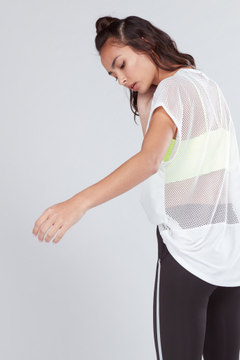 Oversized T-Shirt with Short Sleeves and Mesh Insert