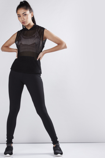 Sleeveless Mesh Top with Hood and Kangaroo Pockets
