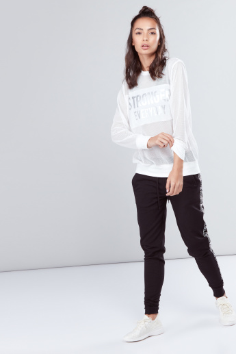 Mesh Top with Foil Print and Long Sleeves