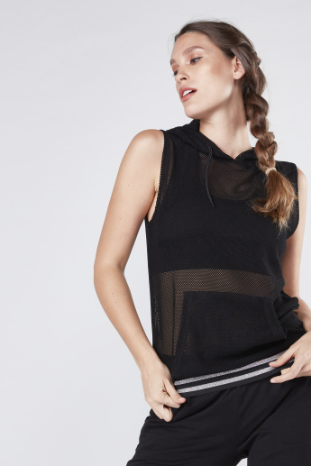 Textured Sleeveless Top with Hood and Striped Hem