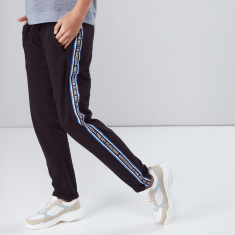 Printed Side Tape Track Pants with Drawstring