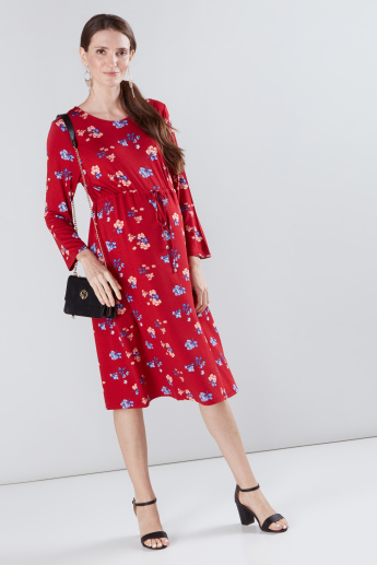ab0fdfc7a0673 Maternity Floral Printed A-Line Midi Dress | Red | Printed