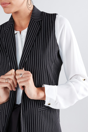 Striped Sleeveless Jacket with Pocket Detail