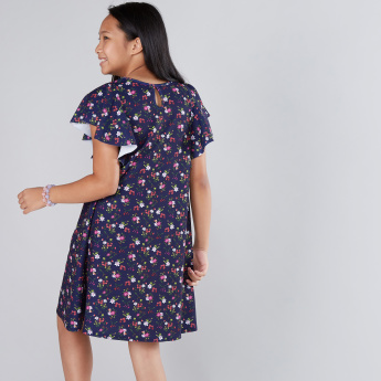 Floral Printed Frilled Sleeves Dress