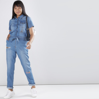 bd967d83b28 Applique Detail Denim Jumpsuit with Short Sleeves and Front Knot ...