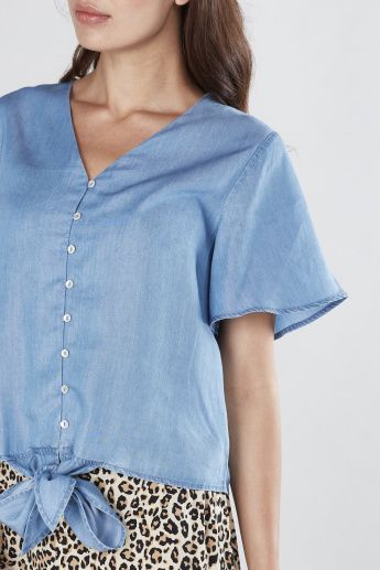 Knot Detail Tencel Top with Flared Sleeves