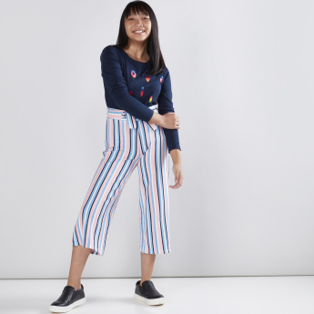 Striped Culottes with Tie Ups