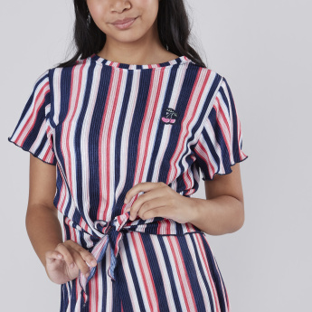 Striped Front Knot Detail Top
