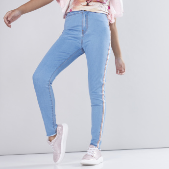 High Waist Jeans with Side Tape Detail and Pockets