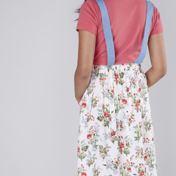 Floral Printed Midi Skirt with Suspenders