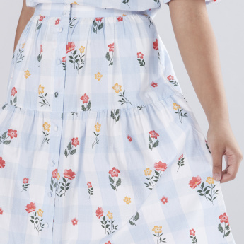 Floral Printed Midi Skirt with Button Detail