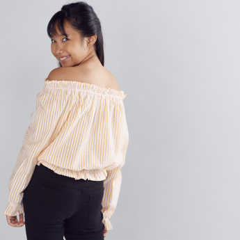 Striped Off Shoulder Peasant Top