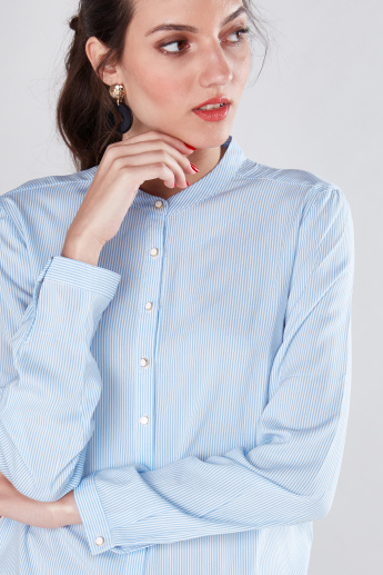 Striped Shirt with Mandrin Collar and Long Sleeves