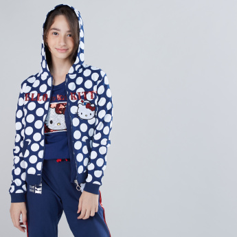 Hello Kitty Printed Jacket with Long Sleeves and Zip Closure