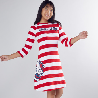 Hello Kitty Printed and Striped Dress