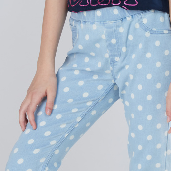 Polka Dot Printed Jeggings with Elasticised Waistband
