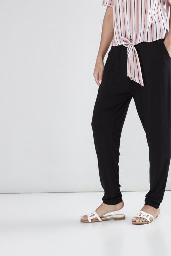 Pocket Detail Harem Style Pants with Elasticised Waistband