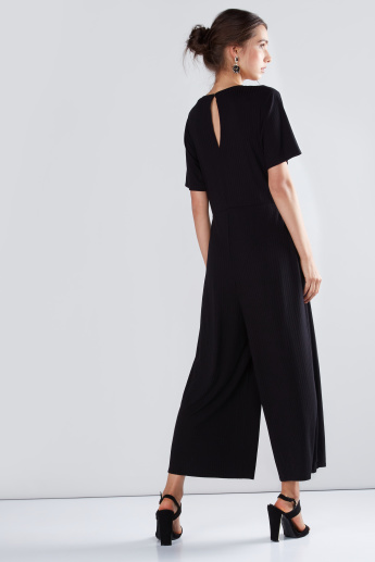 Ribbed Jumpsuit with Knot Detail