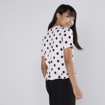 Polka Dot Printed Frill Detail T-Shirt
