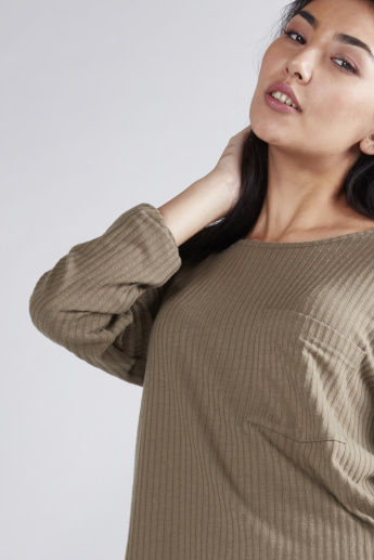 Textured Boxy Top with Long Sleeves