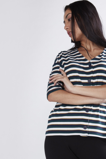 Striped Ribbed Shirt with Complete Placket