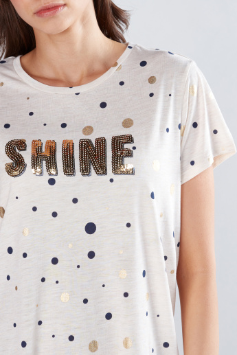 Printed T-Shirt with Sequin Detail and Short Sleeves