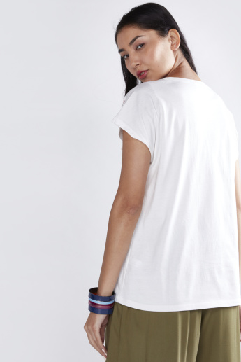 Puff Printed T-Shirt with Round Neck and Short Sleeves