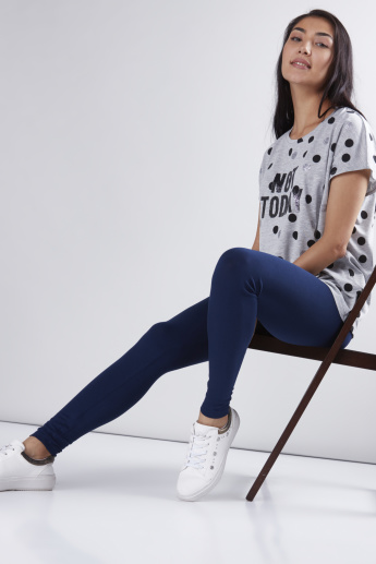 Polka Dot Printed T-Shirt with Round Neck and Extended Sleeves