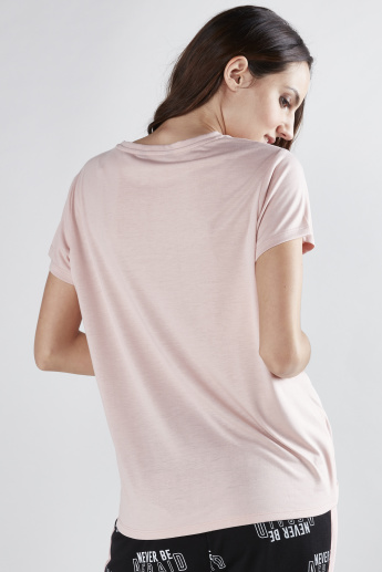 Printed T-Shirt with Round Neck and Sequin Detail