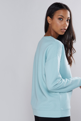 Textured Sweatshirt with Round Neck and Drop Shoulder Sleeves