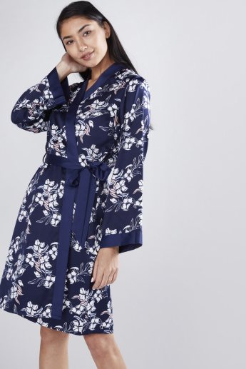 Floral Printed Robe with Long Sleeves and Tie Ups
