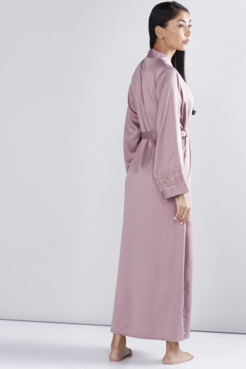 Long Sleeves Robe with Tie Up Belt and Lace Detail