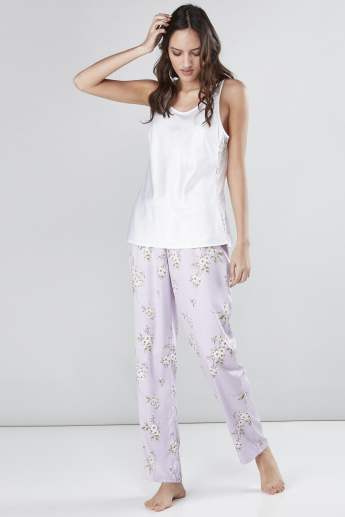 Lace Detail Vest and Printed Pyjama Set